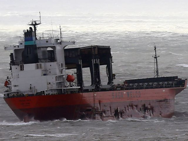 Visible damage to the side of a cargo ship which got into difficulty in the Channel off the coast of Dover, as Storm Angus hit the UK with gusts anticipated to reach up to 80mph. PRESS ASSOCIATION Photo. Picture date: Sunday November 20, 2016. See PA story WEATHER Storm. Photo credit should read: Gareth Fuller/PA Wire