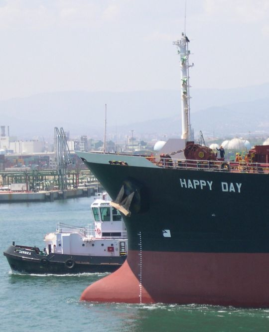 Bulkcarrier Happy Day saliendo de Tarragona, acompañado por el Gernika