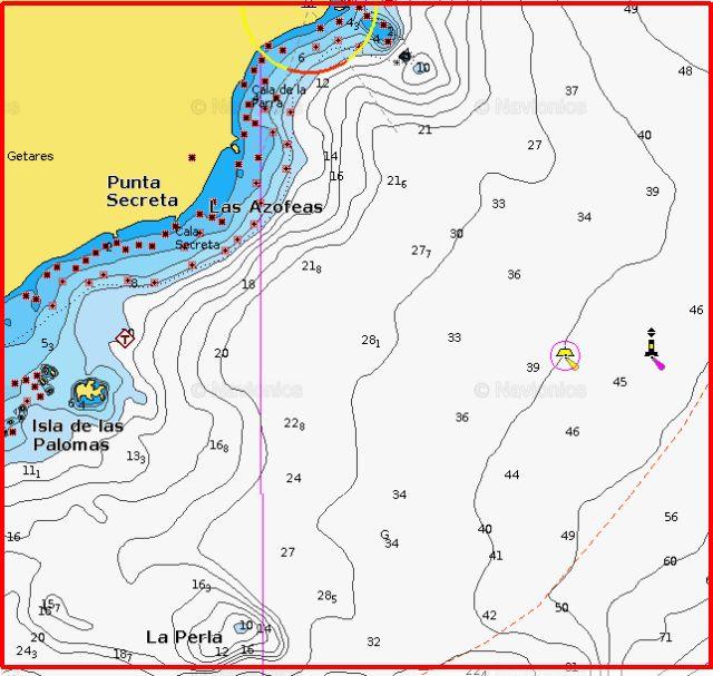 Detalle del Bajo de la Perla y su sonda